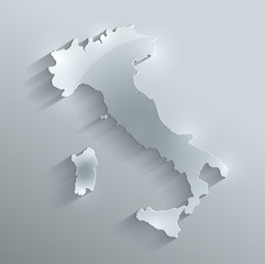Italy map glass card paper 3D