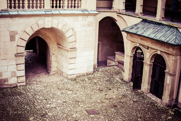 Courtyard castle arcades Pieskowa Skala,near Krakow,Poland