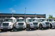 Mixer trucks parked in concrete plant