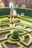 18th century formal garden in castle Pieskowa Skala in Poland