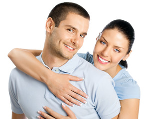 Young happy smiling couple, isolated
