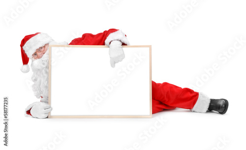 Santa and empty white board