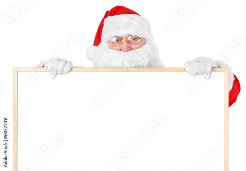 Santa and empty white board over white