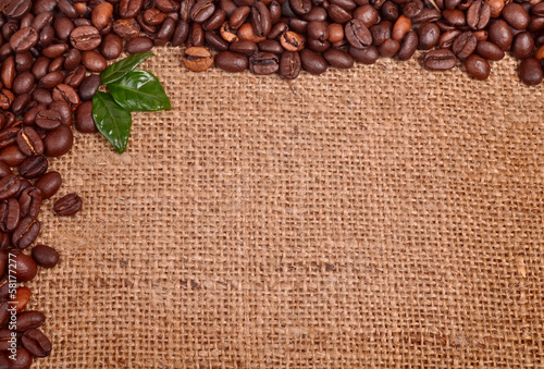 Coffee beans on canvas