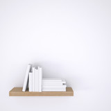 Wooden shelf with books on white wall background