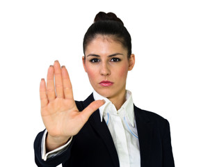 Young business woman with stop hand gesture