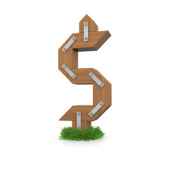Wooden dollar sign in the grass