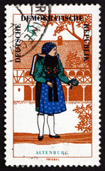Postage stamp GDR 1966 Woman from Altenburg, Regional Costume