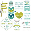 Set of Wedding Cards - Feather, Arrows and Heart Theme