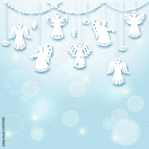 Christmas Background - Angels - paper cut style - in vector