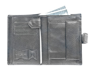 Open male black leather wallet on white background
