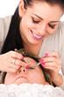 Application of false eyelashes