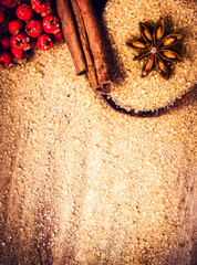 Christmas background with Brown sugar and anis star for Christma