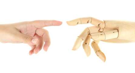 Two hands isolated on white