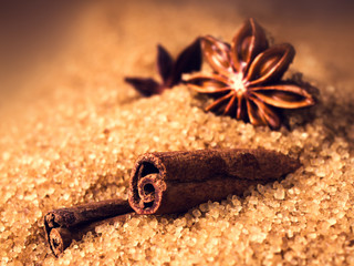 Cinnamon sticks and star anise on brown sugar macro