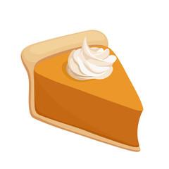 Pumpkin pie slice. Vector illustration.