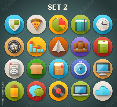 Round Bright Icons with Long Shadow Set 2