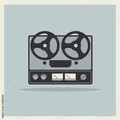 Retro open reel tape deck stereo recorder player