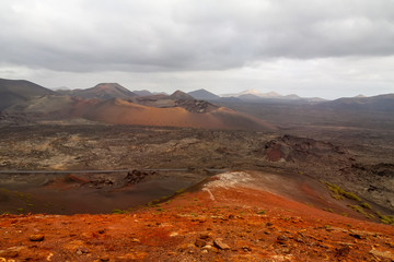 Dramatic view of Timanfaya national park