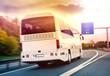 Leinwanddruck Bild - Deutschland Fernbus Fernbuslinie Linienbus auf Autobahn