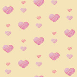 Seamless background of pink sketch hearts on yellow background a