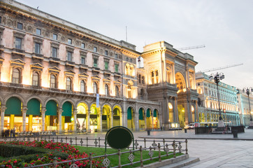 Vittorio Emanuele gallery view at dawn,Milan