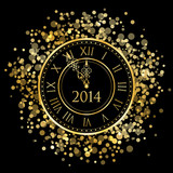 2014 - Vector shiny New Year Clock