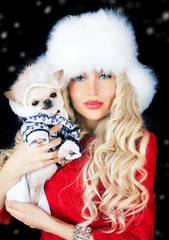 beautiful blonde woman with small dog