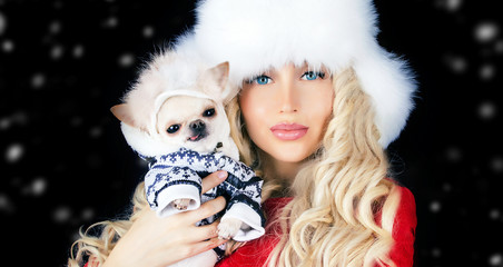 pretty girl with small cute dog