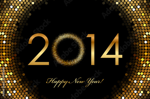 Vector - 2014 Happy New Year 2014 glowing background
