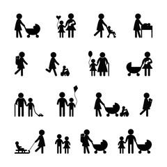 Family icon set on black and white
