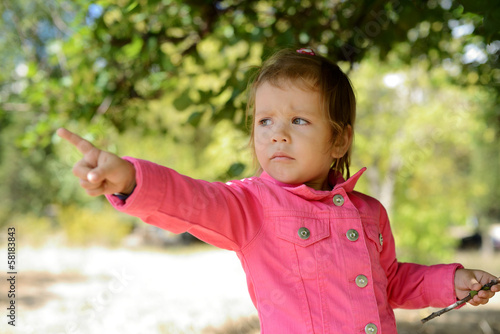 toddler pointing with finger