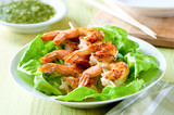 salad with grilled shrimp kebab closeup
