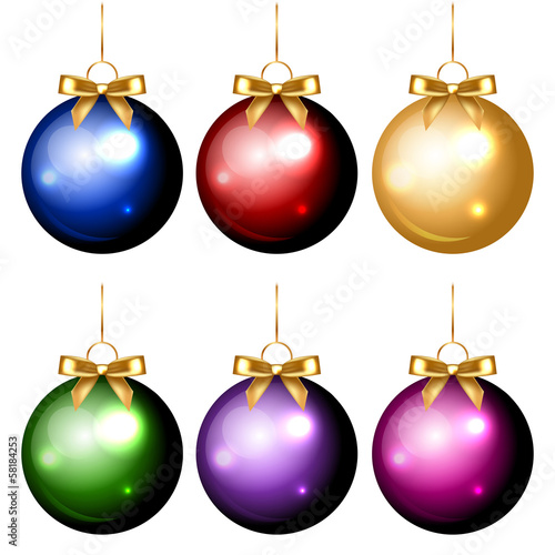 Vector set of shiny colorful christmas decorations