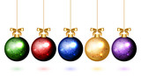 Vector colorful christmas balls with snowflake ornament