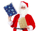 Santa Claus carrying two gifts