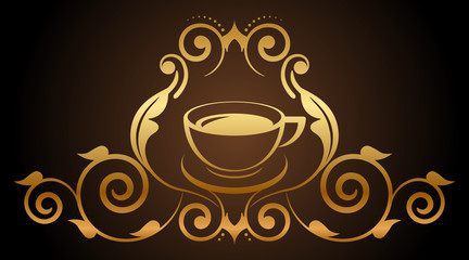 Vector illustration of floral gold coffee icon