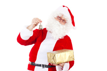 Santa Claus with bell and golden gift