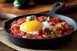 closeup of huevos rancheros