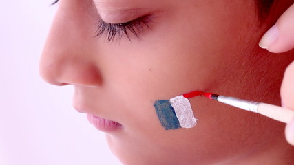 face painting flag of France