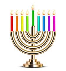 Vector illustration of gold Hanukkah menorah