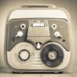 Retro reel to reel tape recorder old sepia photo
