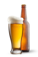 Beer in glass on white background
