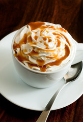 caramel latte with whipped cream