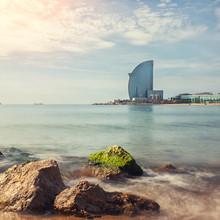 La plage de Barceloneta à Barcelone, Espagne