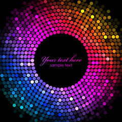 Vector colorful disco lights frame