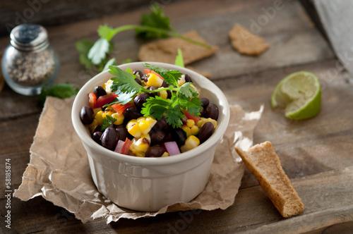 closeup of black bean and corn salsa