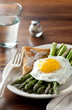 breakfast with toast, grilled asparagus and fried egg
