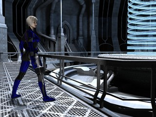 Science fiction female guard at the reactor core