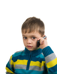 Cute kid with cell phone